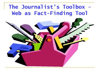 The Journalist's Toolbox – Web as Fact-Finding Tool