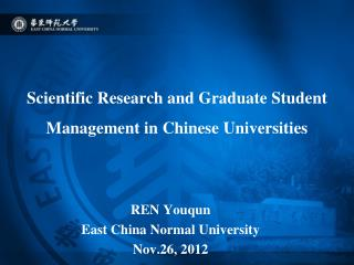 Scientific Research and Graduate Student Management in  Chinese  U niversit ies