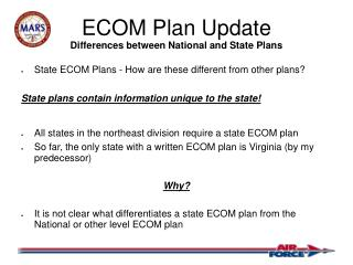 ECOM Plan Update Differences between National and State Plans