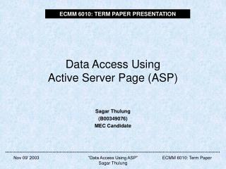 Data Access Using Active Server Page (ASP)