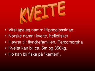 Vitskapeleg namn: Hippoglossinae Norske namn: kveite, hellefisker
