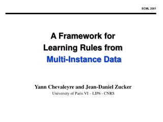 A Framework for Learning Rules from Multi-Instance Data