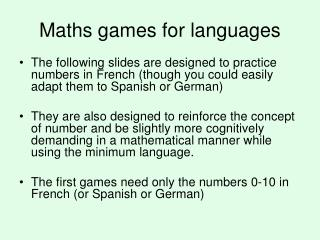 maths and language games