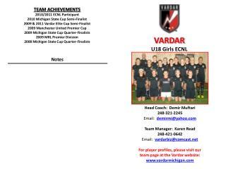 Head Coach:   Demir Muftari 248-321-2245   Email:   demirmi@yahoo Team Manager:  Karen Read
