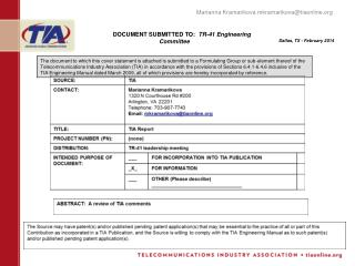 DOCUMENT SUBMITTED TO:   TR-41 Engineering Committee