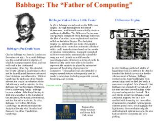 Babbage: The  Father of Computing
