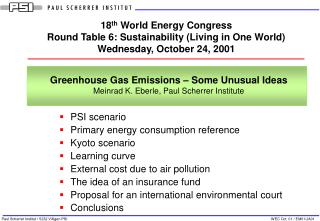 PSI scenario Primary energy consumption reference Kyoto scenario Learning curve