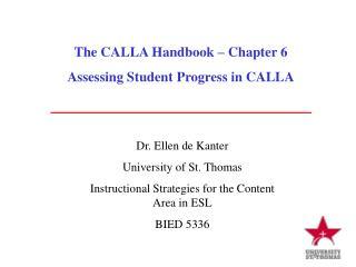 The CALLA Handbook – Chapter 6 Assessing Student Progress in CALLA