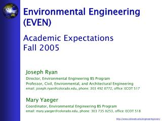 Environmental Engineering (EVEN) Academic Expectations Fall 2005