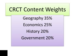 CRCT Content Weights