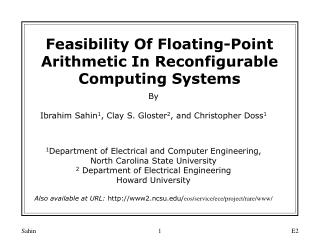 Feasibility Of Floating-Point Arithmetic In Reconfigurable Computing Systems