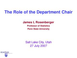 The Role of the Department Chair