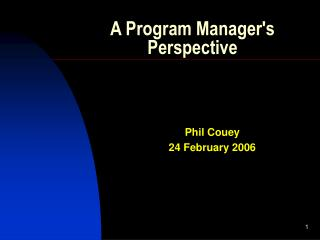 A Program Manager's Perspective