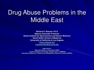 Drug Abuse Problems in the Middle East