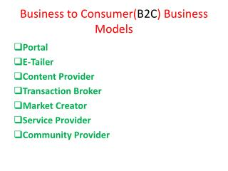 Business to Consumer( B2C ) Business Models