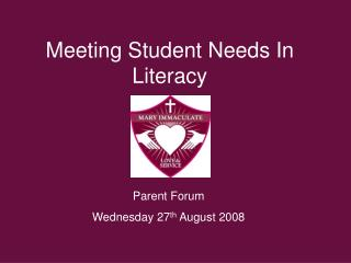Meeting Student Needs In Literacy