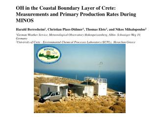 OH in the Coastal Boundary Layer of Crete: Measurements and Primary Production Rates During MINOS