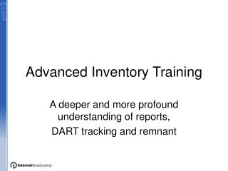 Advanced Inventory Training