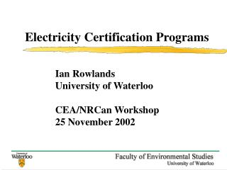 Electricity Certification Programs