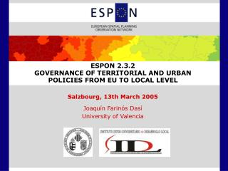 ESPON 2.3.2  GOVERNANCE OF TERRITORIAL AND URBAN POLICIES FROM EU TO LOCAL LEVEL