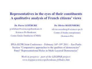 Representatives in the eyes of their constituents A qualitative analysis of French citizens' views