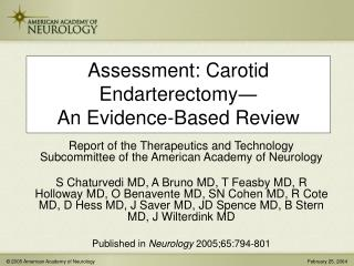 Assessment: Carotid Endarterectomy ― An Evidence-Based Review