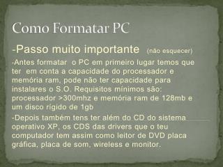 Como Formatar PC