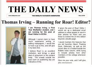 Thomas Irving – Running for Roar! Editor?