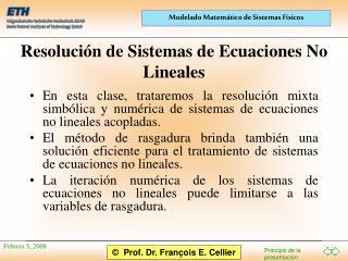Resolución de Sistemas de Ecuaciones No Lineales