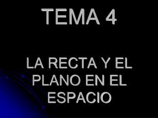 TEMA 4 LA RECTA Y EL PLANO EN EL ESPACIO