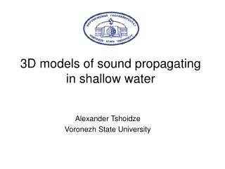 3D models of sound propagating in shallow water
