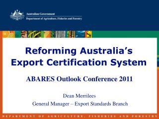 Reforming Australia's Export Certification System
