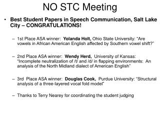 NO STC Meeting