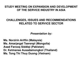 STUDY MEETING ON EXPANSION AND DEVELOPMENT OF THE SERVICE INDUSTRY IN ASIA