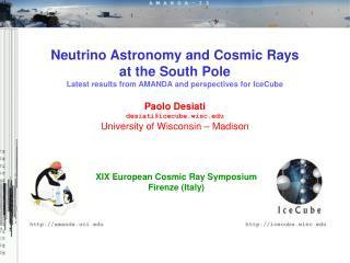 XIX European Cosmic Ray Symposium Firenze (Italy)