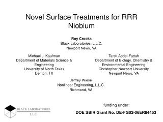 Novel Surface Treatments for RRR Niobium