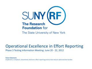 Operational Excellence in Effort Reporting Phase 3 Testing Information Meeting: June 20 - 22, 2012