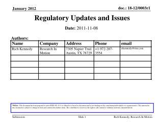 Regulatory Updates and Issues