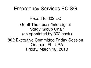 Emergency Services EC SG