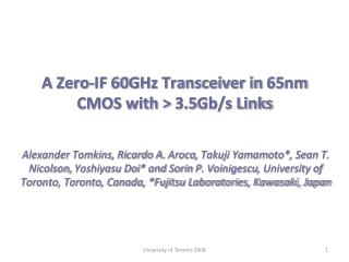 A Zero-IF 60GHz Transceiver in 65nm CMOS with > 3.5Gb/s Links