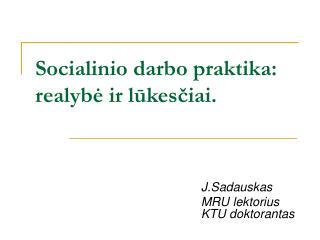 Socialinio darbo praktika: realybė ir lūkesčiai.