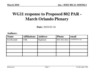 WG11 response to Proposed 802 PAR - March Orlando Plenary