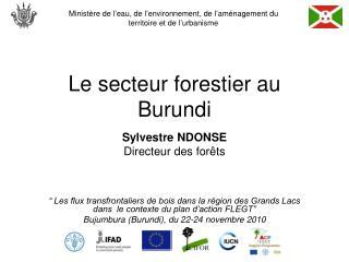 Le secteur forestier au Burundi
