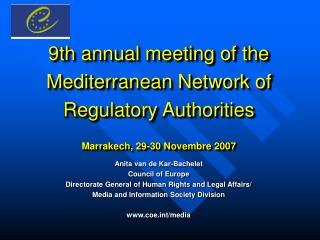 Anita van de Kar-Bachelet Council of Europe