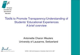 Tools  to Promote Transparency/Understanding of Students' Educational Experiences A brief overview