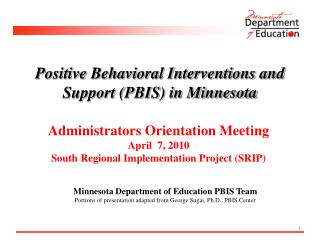 Positive Behavioral Interventions and Support (PBIS) in Minnesota