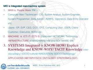 MIS is Integrated man-machine system MAN is People Ware / PW :-