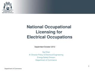 National Occupational Licensing for  Electrical Occupations