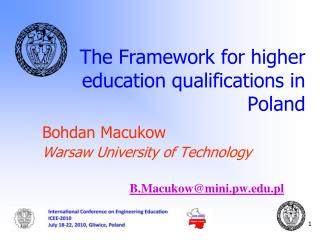 The Framework for higher education qualifications in Poland