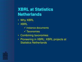 XBRL at Statistics Netherlands